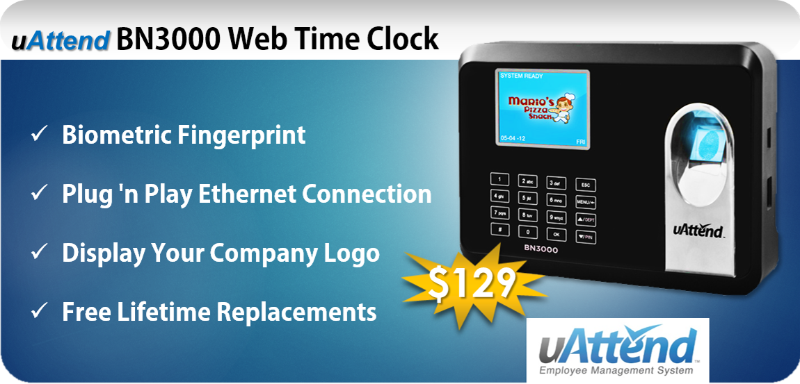 uAttend BN3000 Web Time Clock with Online Time Sheets and Reports