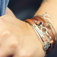 Leather Wrap with stamped plate