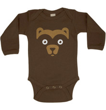 Long Sleeve Wee Bear Onesie in Brown