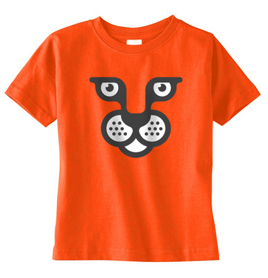 Wild Cat Face on Orange T-Shirt