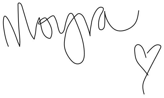 Moyra's Signature and heart shape