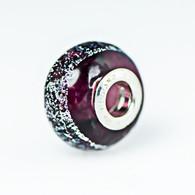 Purple Dichroic Murano Glass Charm Bead