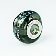 Steel Dichroic Murano Glass Charm Bead