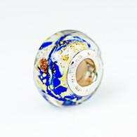 Cobalt Swirl Gold Foil Murano Glass Charm Bead