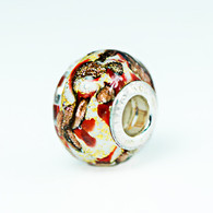 Scarlet Swirl Gold Foil Murano Glass Charm Bead