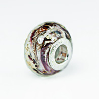 Chocolate Swirl Gold Foil Murano Glass Charm Bead