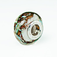 Mint Swirl Gold Foil Murano Glass Charm Bead