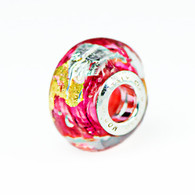 Pink Klimt Gold and Silver Foil Murano Glass Charm Bead