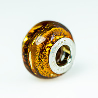 Topaz Silver Foil Murano Glass Charm Bead