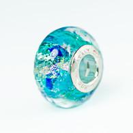 Aquamarine Sparkles Fantasy Murano Glass Charm Bead