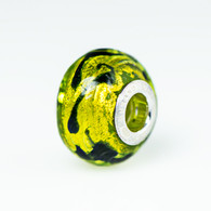 Peridot Gold Foil Scribbles Murano Glass Charm Bead