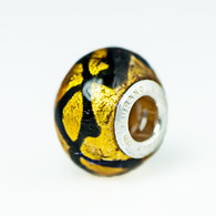 Topaz Gold Foil Scribbles Murano Glass Charm Bead