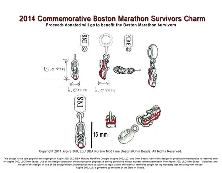 2014 Commemorative Boston Survivors Charm Design Sketch