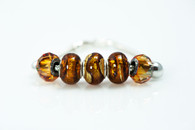 Amber and Gold Foil European Style Bead and Charm Bracelet