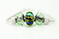 Blue Green Fantasy European Style Bead and Charm Bracelet