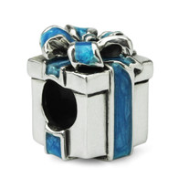 """Something Blue"" Gift Box Charm-Sterling Silver"