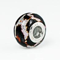 White Chocolate Leopard Murano Glass Charm Bead