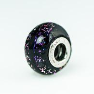 Purple Sparkle Black Dichroic Murano Glass Charm Bead