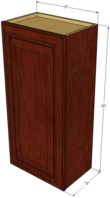 Small Single Door Brandywine Maple Wall Cabinet 15 Inch