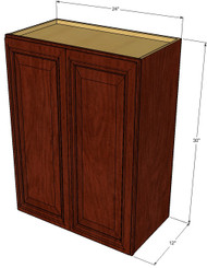 Large Double Door Brandywine Maple Wall Cabinet - 24 Inch Wide x 30 Inch High