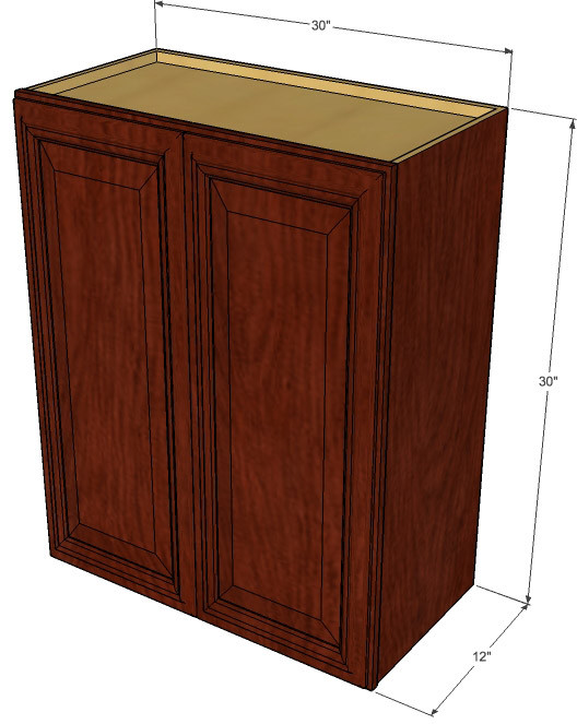 Large double door brandywine maple wall cabinet 30 inch for 30 inch kitchen cabinets