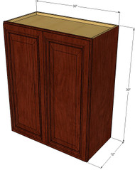 Large Double Door Brandywine Maple Wall Cabinet - 30 Inch Wide x 30 Inch High