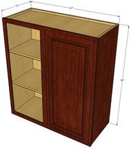 Single Door Straight Corner Brandywine Maple Blind Wall Cabinet - 27 Inch Wide x 30 Inch High