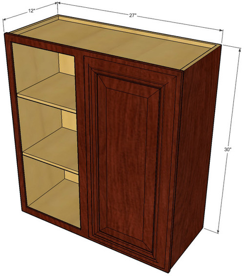Single door straight corner brandywine maple blind wall for Brandywine kitchen cabinets