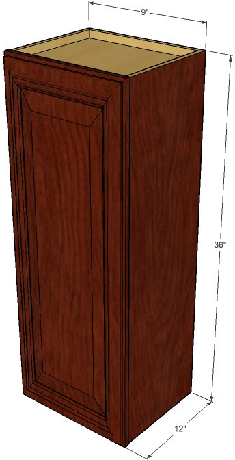 Small Single Door Brandywine Maple Wall Cabinet 9 Inch Wide X 36 Inch High Kitchen Cabinet