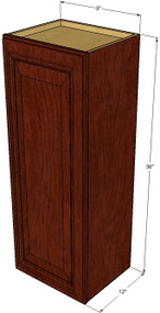 Small Single Door Brandywine Maple Wall Cabinet - 9 Inch Wide x 36 Inch High