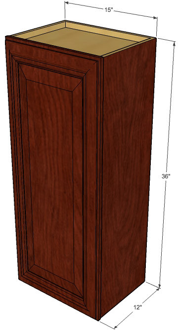 Small single door brandywine maple wall cabinet 15 inch for Kitchen cabinets 36 inch