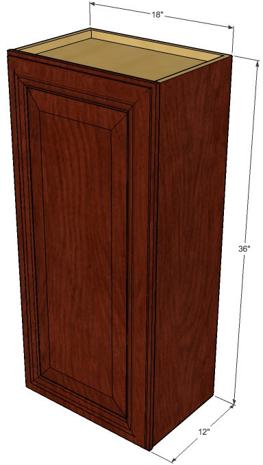 Small single door brandywine maple wall cabinet 18 inch for Kitchen cabinets 36 inch