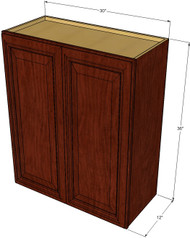 Large Double Door Brandywine Maple Wall Cabinet - 30 Inch Wide x 36 Inch High