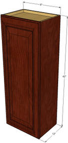 Small Single Door Brandywine Maple Wall Cabinet - 9 Inch Wide x 42 Inch High
