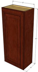 Small Single Door Brandywine Maple Wall Cabinet - 12 Inch Wide x 42 Inch High