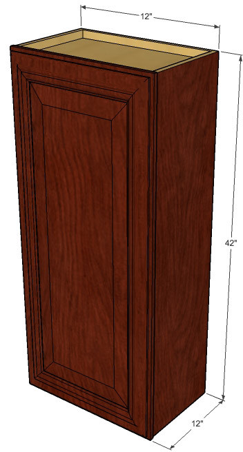 Small single door brandywine maple wall cabinet 12 inch for 12 inch wide kitchen cabinets