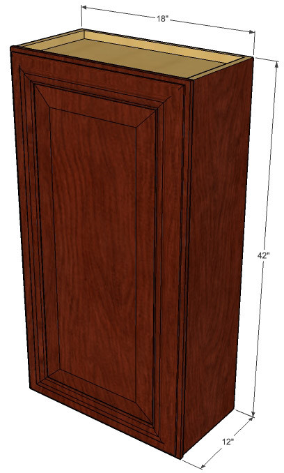 Small single door brandywine maple wall cabinet 18 inch for Kitchen cabinets 42 high