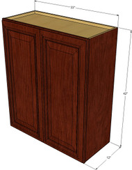 Large Double Door Brandywine Maple Wall Cabinet - 33 Inch Wide x 42 Inch High