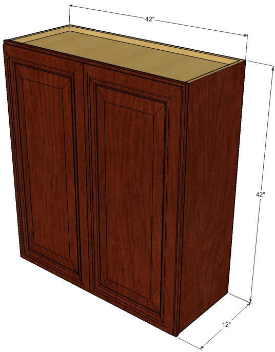 Large double door brandywine maple wall cabinet 42 inch for Kitchen cabinets 42 high