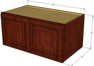 Brandywine Maple Horizontal Overhead Wall Cabinet - 30 Inch Wide x 12 Inch High