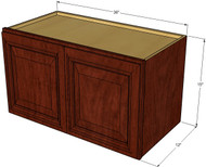 Brandywine Maple Horizontal Overhead Wall Cabinet - 36 Inch Wide x 15 Inch High