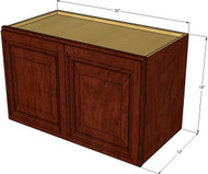 Brandywine Maple Horizontal Overhead Wall Cabinet - 30 Inch Wide x 18 Inch High