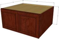 Brandywine Maple Horizontal Fridge Wall Cabinet - 33 Inch Wide x 15 Inch High x 24 Inch Deep