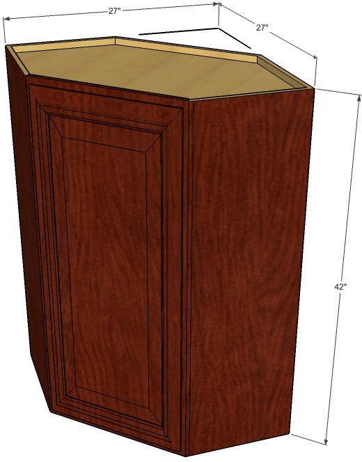 Brandywine maple diagonal corner cabinet 27 inch wide x for Kitchen cabinets 42 high