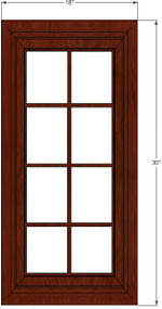 Brandywine Maple Mullion Glass Door - 18 Inch Wide x 30 Inch High