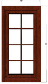 Brandywine Maple Mullion Glass Door - 15 Inch Wide x 36 Inch High