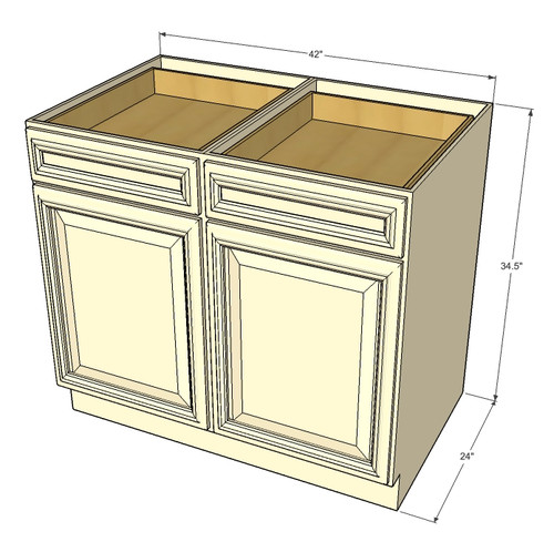Tuscany white maple large base cabinet with double doors for Kitchen cabinets 42 high