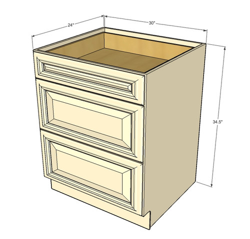 Tuscany white maple 3 drawer base cabinet 30 inch for Kitchen cabinets and drawers