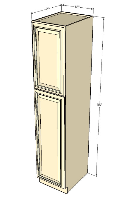 Tuscany White Maple Pantry Cabinet Unit 18 Inch Wide x 96 Inch ...