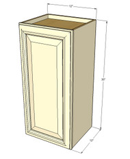 Small Single Door Tuscany White Maple Wall Cabinet - 12 Inch Wide x 30 Inch High